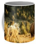 Two Mustangs Post Playtime At The Waterhole Coffee Mug