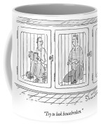 Two Prisoners Sit In Separate Dog Kennel Cells Coffee Mug