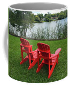 Two Red Chairs Overlooking Lake Formosa Coffee Mug