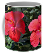 Two Red Hibiscus With Border Coffee Mug