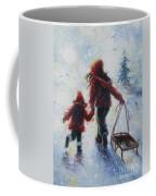 Two Sisters Going Sledding Coffee Mug