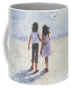 Two Sisters Walking Beach Coffee Mug