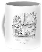 Two Tortoises Speak. One Has A Large Number Coffee Mug