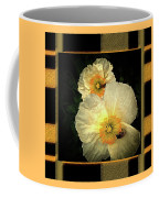 Two Honey Bees Two White Flowers Matted Coffee Mug