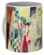 Two Women And A Man With Parrots Coffee Mug