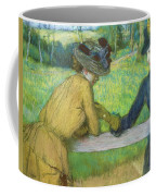 Two Women Leaning On A Gate Coffee Mug by Edgar Degas