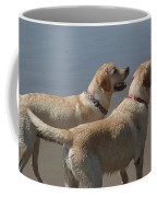 Two Yellow Labs Wait In Anticipation Coffee Mug
