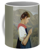 Tyrolean Girl Contemplating A Crucifix Coffee Mug