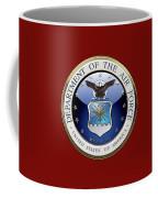 U. S.  Air Force  -  U S A F Emblem Over Red Velvet Coffee Mug