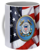 U. S. Coast Guard - U S C G Emblem Over American Flag Coffee Mug