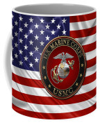 U. S.  Marine Corps - C O And Warrant Officer E G A Special Edition Over U. S.  Flag Coffee Mug
