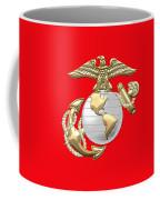 U. S. Marine Corps Eagle Globe And Anchor - E G A On Red Leather Coffee Mug