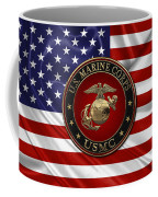 U. S.  Marine Corps - N C O   E G A Special Edition Over  U. S.  Flag Coffee Mug