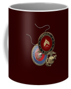 U. S.  Marines Corporal Rank Insignia Over Red Velvet Coffee Mug