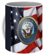 U. S.  Navy  -  U S N Emblem Over American Flag Coffee Mug