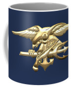 U. S. Navy S E A Ls Emblem On Blue Velvet Coffee Mug