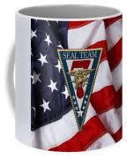 U. S. Navy S E A Ls - S E A L Team Seven  -  S T 7  Patch Over U. S. Flag Coffee Mug