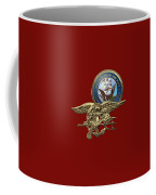 U. S. Navy S E A Ls Trident Over Red Velvet Coffee Mug
