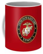 U S M C Eagle Globe And Anchor - E G A On Red Velvet Coffee Mug