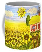 Ukrainian House With Sunflowers Coffee Mug