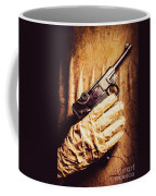 Undead Mummy  Holding Handgun Against Wooden Wall Coffee Mug