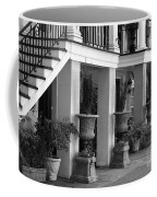 Under The Steps In Savannah - Black And White Coffee Mug