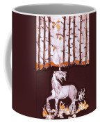 Unicorn Below Trees In Autumn Coffee Mug