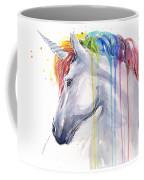 Unicorn Rainbow Watercolor Coffee Mug by Olga Shvartsur