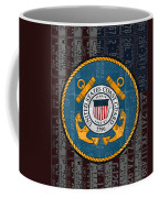 United States Coast Guard Logo Recycled Vintage License Plate Art Coffee Mug