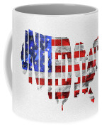 United States Typographic Map Flag Coffee Mug