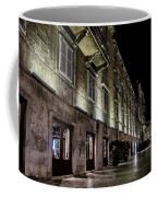 Up Lighting On A European Building At Night  Coffee Mug