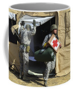 U.s. Air Force Soldier Exits A Medical Coffee Mug