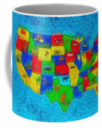 Us Map With Theme  - Special Finishing -  - Da Coffee Mug