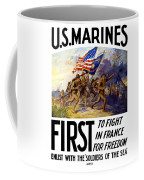 Us Marines - First To Fight In France Coffee Mug by War Is Hell Store