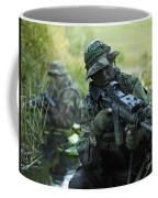 U.s. Navy Seals Cross Through A Stream Coffee Mug by Tom Weber