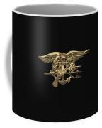 U.s. Navy Seals Trident Over Black Flag Coffee Mug