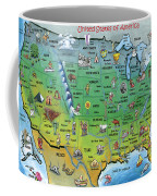 Usa Cartoon Map Coffee Mug