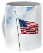 Usa Flag On Blue Sky With Clouds Coffee Mug