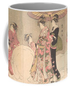 Utagawa Toyokuni I    Courtesans And Attendants Playing In The Snow Coffee Mug