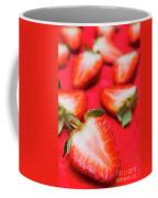 Various Sliced Strawberries Close Up Coffee Mug