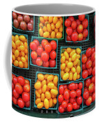 Various Type And Colors Of Small Tomatos In Small Plastic Basket Coffee Mug by PorqueNo Studios