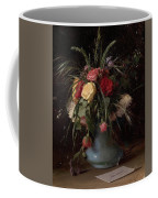 Vase Of Flowers And A Visiting Card Coffee Mug