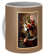 Vase With Roses And Other Flowers L A With Decorative Ornate Printed Frame. Coffee Mug