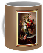 Vase With Roses And Other Flowers L B With Alt. Decorative Ornate Printed Frame. Coffee Mug