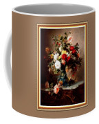 Vase With Roses And Other Flowers L B With Decorative Ornate Printed Frame. Coffee Mug