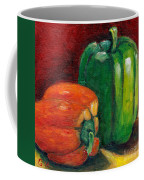 Vegetable Still Life Green And Orange Pepper Grace Venditti Montreal Art Coffee Mug