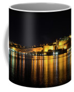 Velvety Reflections - Valletta Grand Harbour At Night Coffee Mug