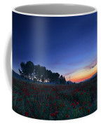 Venus And Moon Over Spring Poppies Coffee Mug