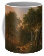 Verboeckhoven  Eugene   Forest Landscape With Animals Coffee Mug