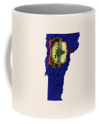 Vermont Map Art With Flag Design Coffee Mug